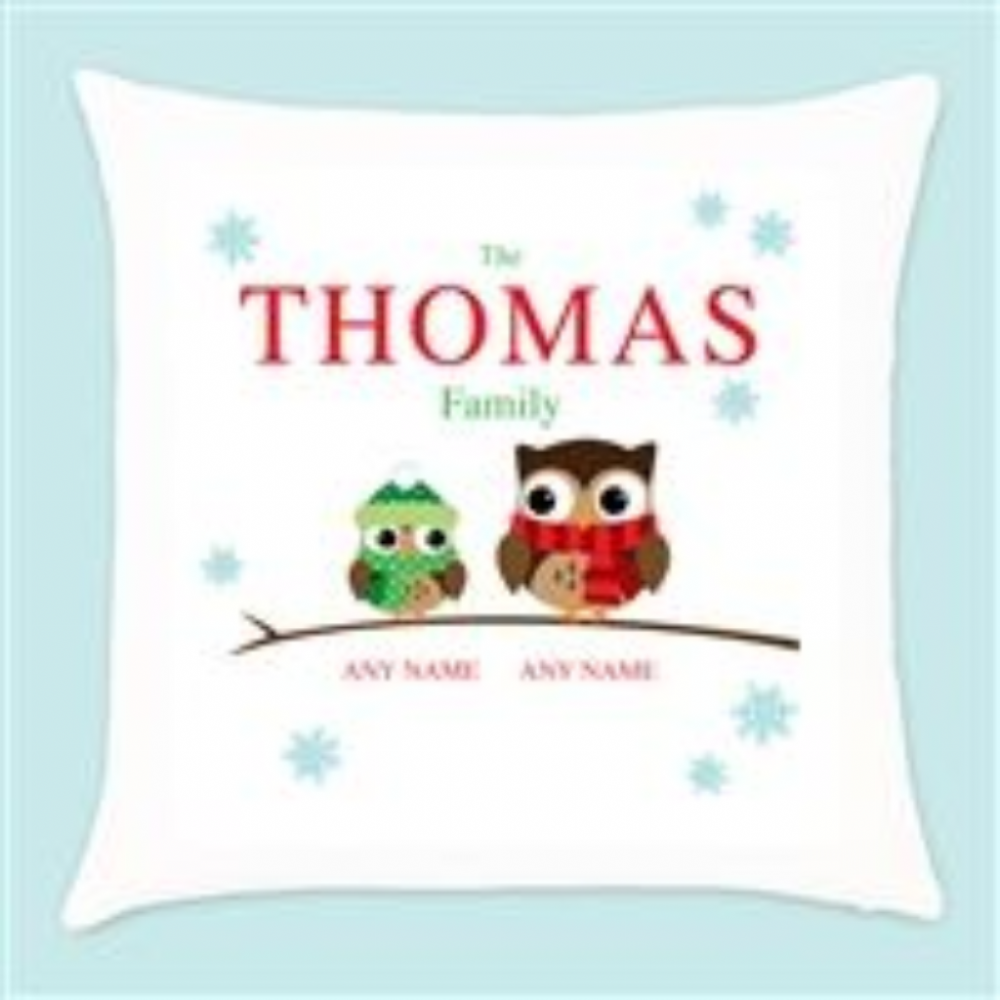Personalised Owl Family of 2 Christmas Cushion